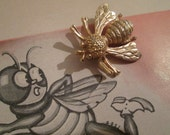 Vintage Honey Bee Insect Brooch Pin....Signed Sarah for Sarah Coventry  ( 5482 )