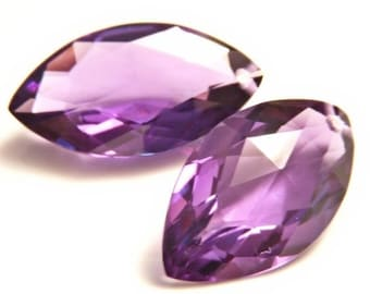 Faceted Amethyst Marquis Briolette Pair