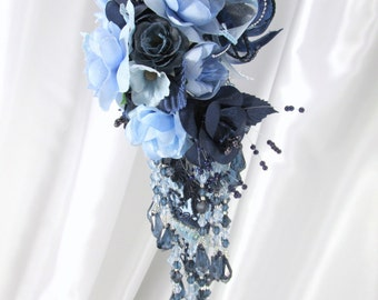 Tall Victorian Christmas Ornament in Elegant Light and Dark Blue Detailed with 85 hand set Swarovski crystals