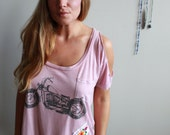 Motorcycle Print Lace Ope...