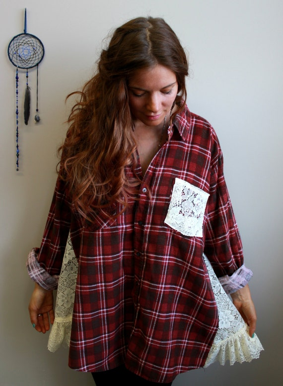 Red Plaid Flannel And Lace Babydoll Oversized Heart Applique