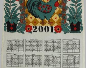 2001 Calendar Fabric, Wall Hanging, Pillow