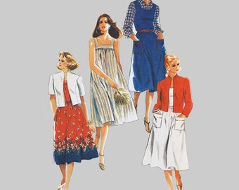1980s Sundress Unlined jacket Sewing pattern Simplicity 5514 Plus Size Loose fitting Bust 43 - 47 inches Half sizes UNCUT