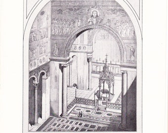 1903 Architecture Print - Basilica St. Paul Rome - Vintage Antique Art Print History Geography Great for Framing 100 Years Old
