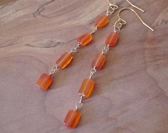 Gold Carnelian Earrings, Gold Filled Carnelian Long Earrings, Gold Orange Carnelian Long Dangle Earrings, Gold Orange Gemstone Earrings