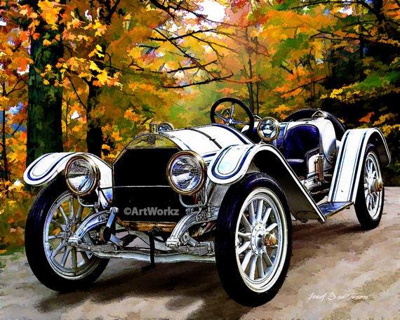 classic car print 1911 mercer type 35 raceabout retro. Black Bedroom Furniture Sets. Home Design Ideas