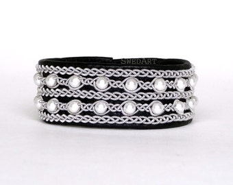 SwedArt B90 Victoria Swedish Sami Leather Bracelet with Pearls-Pewter/Silver Braid-Antler Button Black XX-SMALL