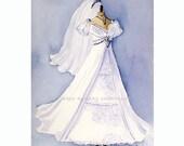 Custom Wedding Gown Portrait Painting 8x10 original painting
