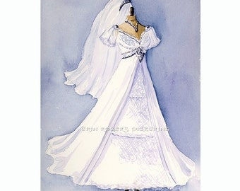 Custom Wedding Gown Portrait Painting 8x10 original painting
