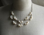 Linen Necklace  with two strands of Freshwater Pearls .