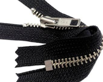 """7"""" NICKEL Exposed Zipper -  YKK #5 Nickel Metal Zipper Closed Bottom Color Black ~ZipperStop Wholesale Authorized Distributor YKK®"""