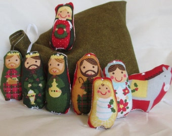 Christmas Ornament Set Nativity Scene With Storage Bag