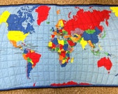 SALE Map of the World wall hanging quilt