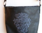 Embroidered leather bag, tote, with cross