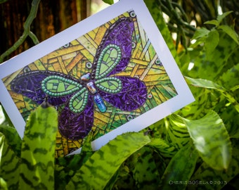 Blank Greeting Card - Papiyon Butterfly mosaic