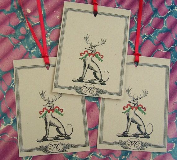 Personalized Christmas Gift Tags: Personalized Christmas Gift Tags Greyhound With Antlers Stag