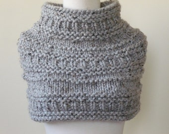 Knit Cowl Chunky Textured Cowl  in Grey Marble, Infinity Scarf, Neck Warmer, Snood, Textured Cowl - Ready to Ship - Direct Checkout