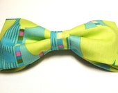 Unusual Blue Lime Green Abstract New Bow Tie for Men Adjustable Pretied Handmade Gustys