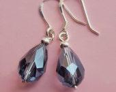 Sterling Silver and Blue Crystal Teardrop Earrings