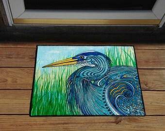 "Great Blue Heron 18"" x 24"" Door Mat, Floor Mat, Home Decor, Kitchen Mat"