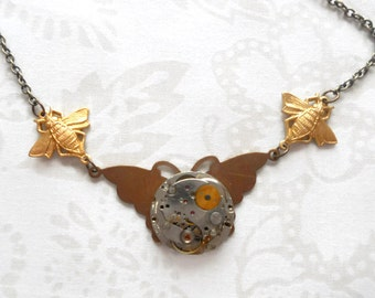 STEAMPUNK NECKLACE Vintage Butterfly Ladies Watch Works Gears Jewels Brass Bees 18 inch Chain