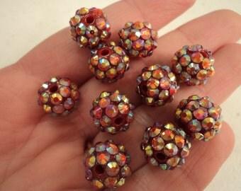 Resin Rhinestone Beads - Dark Red - Set of 10 - #RR142/144