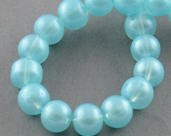 Pastel Blue Glass Beads - 8mm - Sold per strand - 50 beads