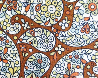 Floral Fabric By The Yard - Floral Paisley on Brown  Fabric - Half Yard