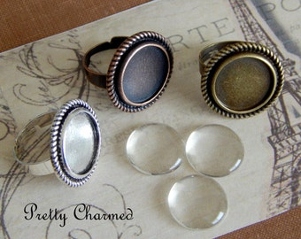 20 Round Ring Trays / Ring Bases with Matching Glass Cabochons 16mm Mix and Match Colors Silver Bronze Copper