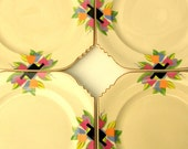 RESERVED for Diana: Modernist Art Deco Tulip Dinner Plates, Sienna Ware by Crescent China - DEPOSIT