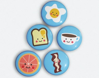 Cute Breakfast 5 Magnet Set Bacon, coffee, eggs, toast, and grapefruit illustrations
