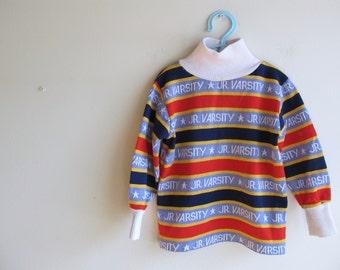 1970s Vintage Childrens Health Tex Jr. Varsity  Striped T Shirt   4 T