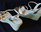 "Size 8M Spadrille Wedges and Platform Ann Taylor 4"" heel and 1"" Platform Light Gold Mettalic Leather it is Vintage"
