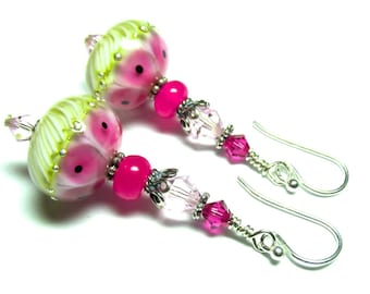Ivory Pink Earrings, Glass Earrings, Lampwork Earrings, Handmade Earrings, Artisan Earrings, Beaded Earrings, Lampwork Jewelry