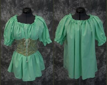Chemise Blouse - Short Sleeved, Size SMALL - Renaissance, Pirate, Wench or Peasant Costume - Mint Green - Halloween, Fall Faire, SCA, LARP