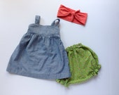 Vintage Baby Girl Outfit // dress - bloomers - headwrap