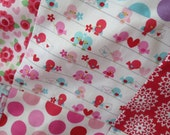 SALE Lovey Dovey Sweet LittleGirl Baby Quilt with Pink Minky and Fabrics by Riley Blake