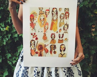The Ladies Luncheon - Oversized A3 Print of Lady portraits, jelly and jam, limited edition