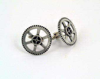 SteamPunk Cuff Links - Steampunk Gear Cuff Links Fine Pewter Made in the USA