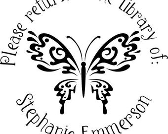 Butterfly - Return to the Library of - Custom Rubber Stamp - book plate