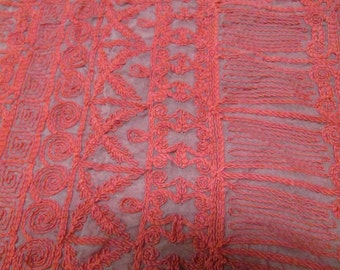 1 1/2 Yards 35 Wide Vintage 70s red embroidered organza fabric