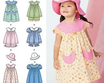 TODDLER DRESS PATTERN / Fun Summer Clothes For Girls - Dress - Top - Panties - Hat / Size 1/2 to 4