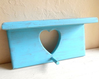 Turquoise Shabby Chic Wood Wall Shelf with Heart Cut out and Peg Hook Rustic