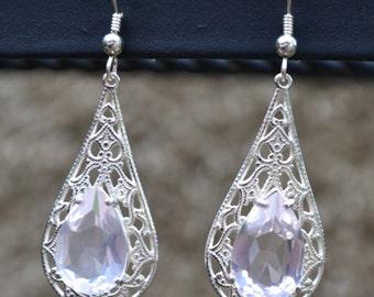 Rose Quartz and Sterling Filigree earrings