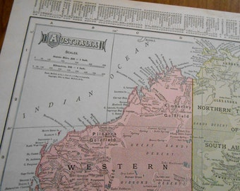 Antique Map of Australia, 1906 vintage Dated old atlas map, Beautiful Wall Art