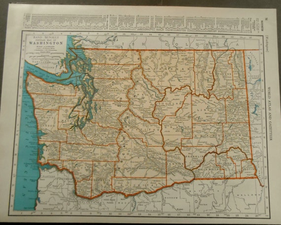 State map of Washington, 1939 Vintage US map