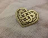 Celtic Heart Etched Brass Pin