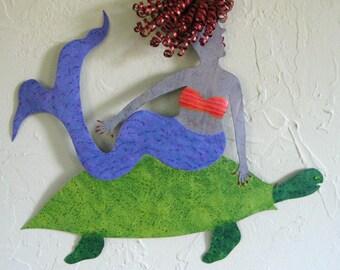 Metal Wall Art Mermaid Sculpture Sea Turtle And Red Head Mermaid Blue Lavender Green Bathroom Beach House Coastal Decor 12 x 13