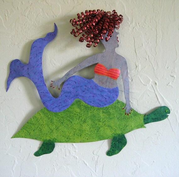 Metal Wall Art Mermaid Sculpture Sea Turtle And Red Head