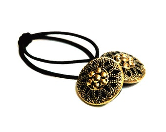 Vintage Button Ponytail Holder, Stylized Flower Design,  Hair Accessory - Vintage Brass Buttons with Intricate Detailing